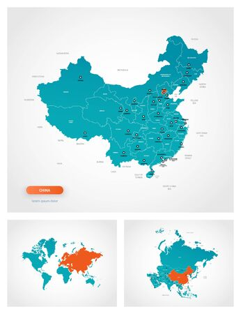 Editable template of map of China with marks. China on world map and on Asia map. Çizim
