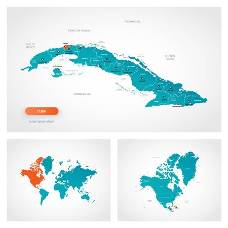 Editable template of map of Cuba with marks. Cuba on world map and on North America map. Иллюстрация