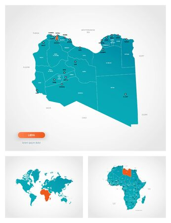 Editable template of map of Libya with marks. Libya on world map and on Africa map.