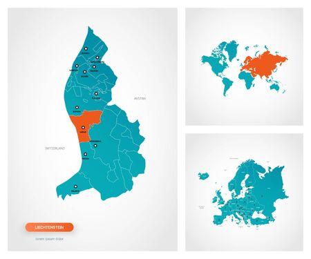 Editable template of map of Liechtenstein with marks. Liechtenstein on world map and on Europe map.