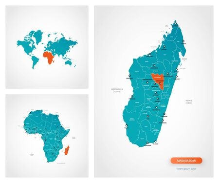 Editable template of map of Madagascar with marks. Madagascar on world map and on Africa map.