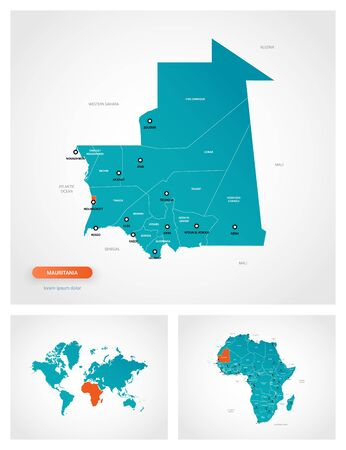Editable template of map of Mauritania with marks. Mauritania on world map and on Africa map.