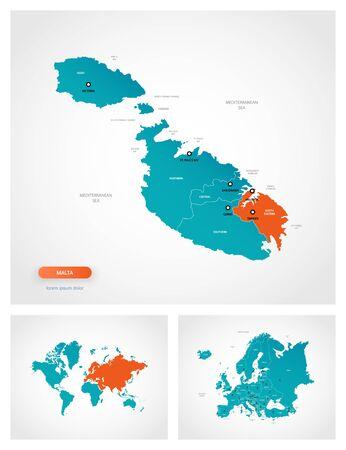 Editable template of map of Malta with marks. Malta on world map and on Europe map.
