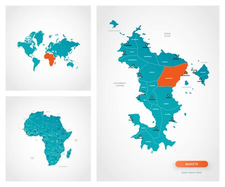 Editable template of map of Mayotte with marks. Mayotte  on world map and on Africa map.