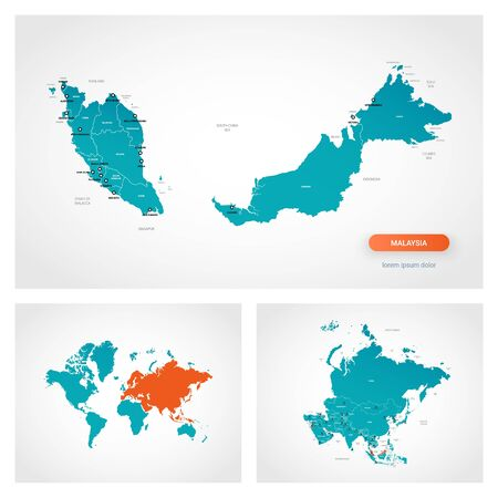 Editable template of map of Malaysia with marks. Malaysia on world map and on Asia map.