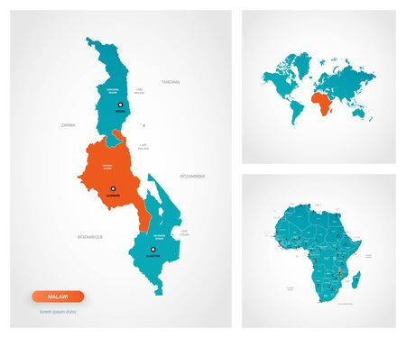Editable template of map of Malawi with marks. Malawi on world map and on Africa map.