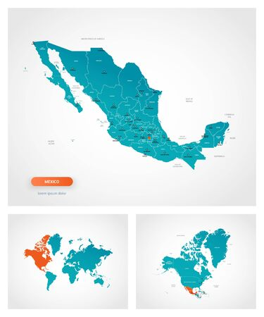 Editable template of map of Mexico with marks. Mexico on world map and on North America map.