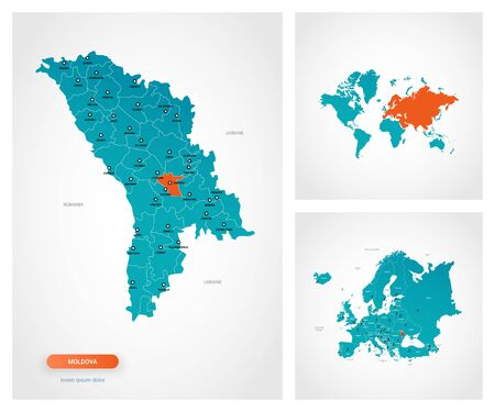 Editable template of map of Moldova with marks. Moldova on world map and on Europe map.