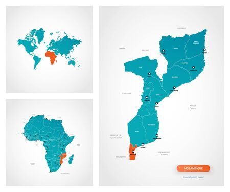 Editable template of map of Mozambique with marks. Mozambique on world map and on Africa map.