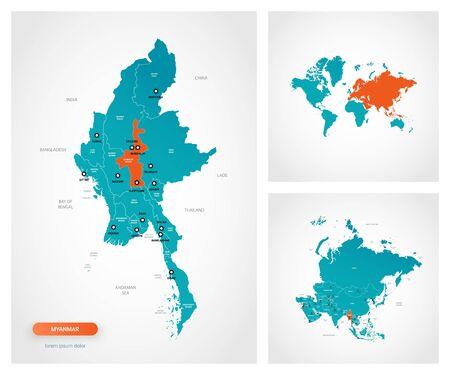 Editable template of map of Myanmar -  Burma with marks. Myanmar -  Burma on world map and on Asia map.