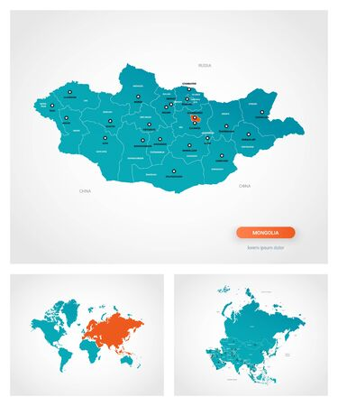 Editable template of map of Mongolia with marks. Mongolia on world map and on Asia map.