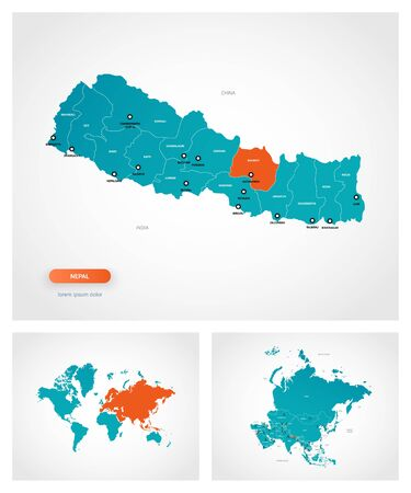 Editable template of map of Nepal with marks. Nepal on world map and on Asia map.