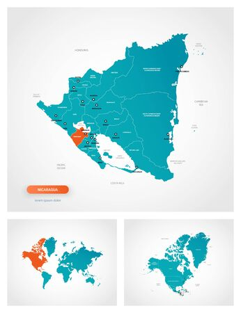 Editable template of map of Nicaragua with marks. Nicaragua on world map and on North America map. Illustration