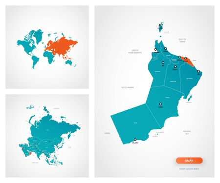 Editable template of map of Oman with marks. Oman on world map and on Asia map. Illustration