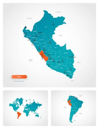 Editable template of map of Peru with marks. Peru on world map and on South America map. Illustration