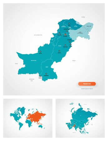 Editable template of map of Pakistan with marks. Pakistan on world map and on Asia map. Illustration