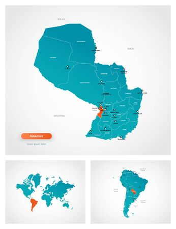 Editable template of map of Paraguay with marks. Paraguay on world map and on South America map. Illustration
