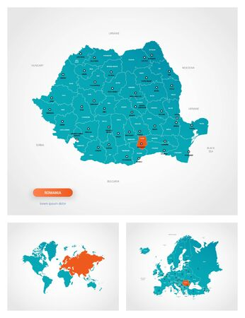 Editable template of map of Romania with marks. Romania on world map and on Europe map.
