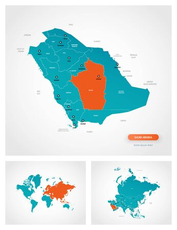 Editable template of map of Saudi Arabia with marks. Saudi Arabia on world map and on Asia map. Illustration
