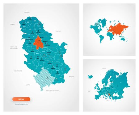 Editable template of map of Serbia with marks. Serbia on world map and on Europe map.