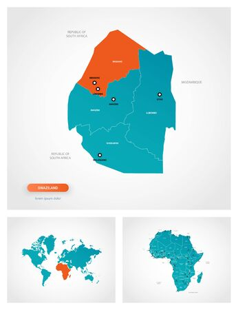 Editable template of map of Swaziland with marks. Swaziland on world map and on Africa map.