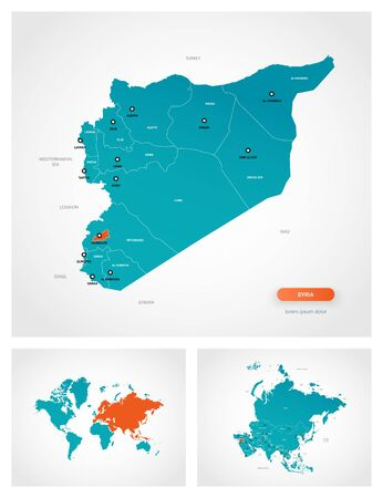 Editable template of map of Syria with marks. Syria on world map and on Asia map.