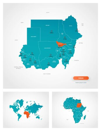 Editable template of map of Sudan with marks. Sudan on world map and on Africa map. Illustration