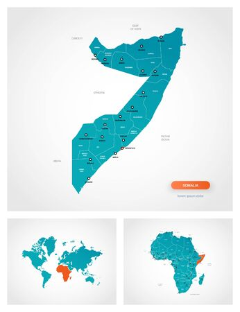 Editable template of map of Somalia with marks. Somalia on world map and on Africa map. Illustration
