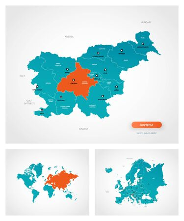 Editable template of map of Slovenia with marks. Slovenia on world map and on Europe map.