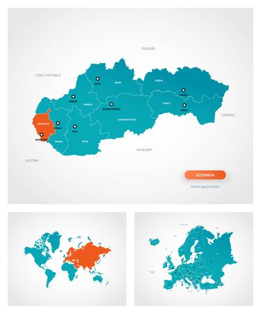 Editable template of map of Slovakia with marks. Slovakia  on world map and on Europe map. Illustration