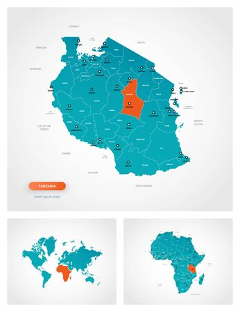 Editable template of map of Tanzania with marks. Tanzania on world map and on Africa map. Illustration