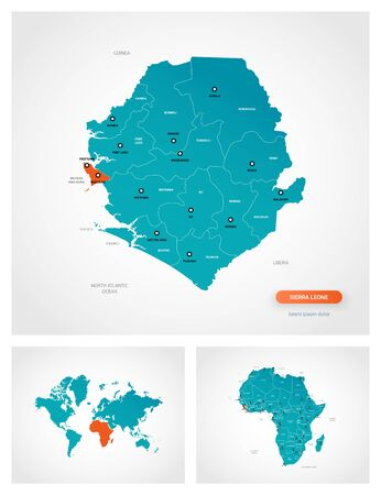 Editable template of map of Sierra Leone with marks. Sierra Leone on world map and on Africa map. Illustration