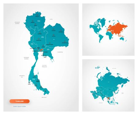 Editable template of map of Thailand with marks. Thailand on world map and on Asia map.