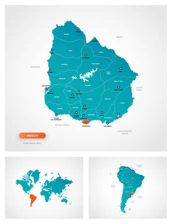 Editable template of map of Uruguay with marks. Uruguay on world map and on South America map.