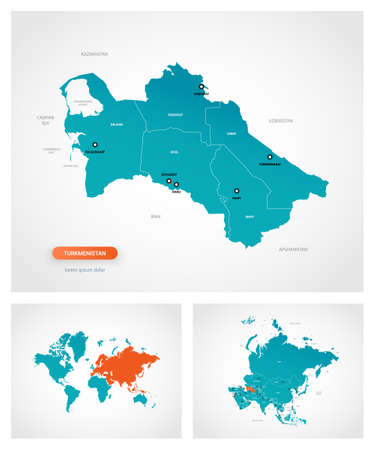Editable template of map of Turkmenistan with marks. Turkmenistan on world map and on Asia map.