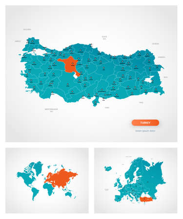 Editable template of map of Turkey with marks. Turkey on world map and on Europe map. Illustration