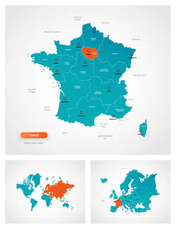 Editable template of map of France with marks. France on world map and on Europe map.