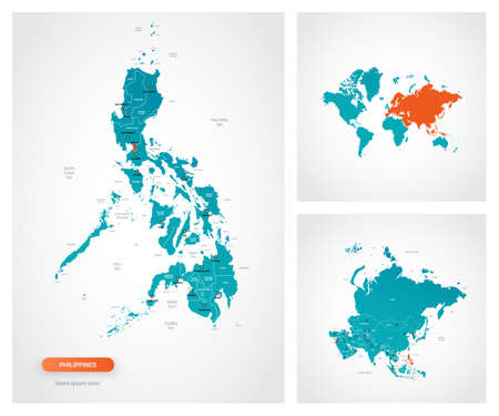Editable template of map of Philippines with marks. Philippines on world map and on Asia map.