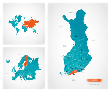 Editable template of map of Finland with marks. Finland on world map and on Europe map.