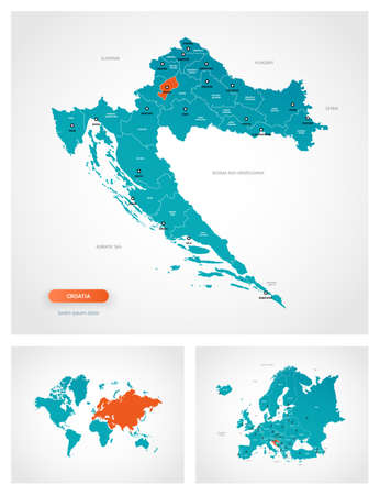 Editable template of map of Croatia with marks. Croatia on world map and on Europe map. Illustration