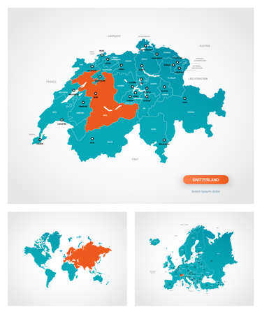 Editable template of map of Switzerland with marks. Switzerland on world map and on Europe map.