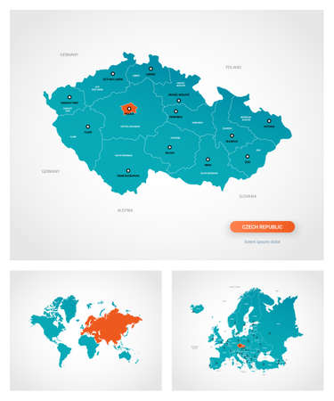 Editable template of map of Czech Republic with marks. Czech Republic on world map and on Europe map.