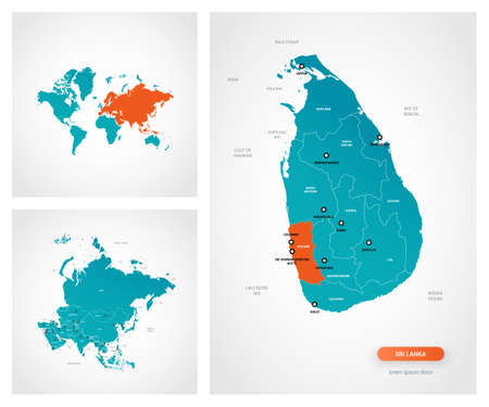 Editable template of map of Sri Lanka with marks. Sri Lanka on world map and on Asia map. Illustration