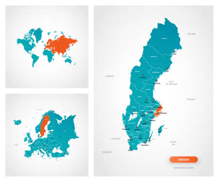 Editable template of map of Sweden with marks. Sweden on world map and on Europe map.