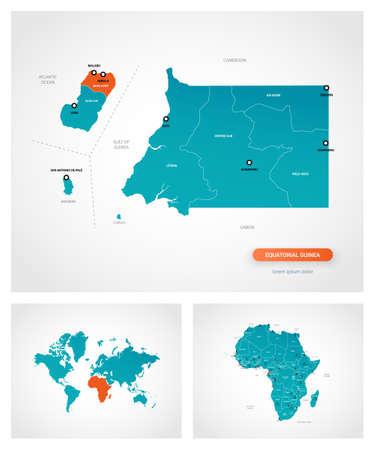 Editable template of map of Equatorial Guinea with marks. Equatorial Guinea on world map and on Africa map.