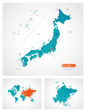 Editable template of map of Japan with marks. Japan on world map and on Asia map.