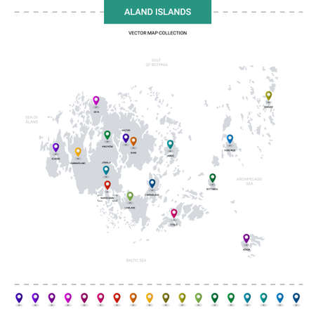 Aland Islands map with location pointer marks. Infographic vector template, isolated on white background. Illustration