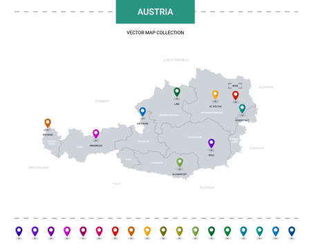 Austria map with location pointer marks. Infographic vector template, isolated on white background.