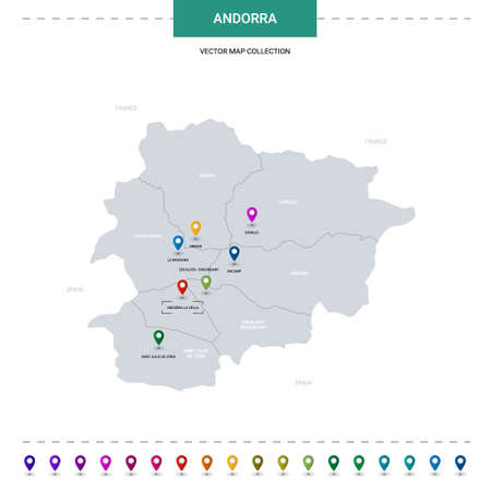 Andorra map with location pointer marks. Infographic vector template, isolated on white background. Illustration
