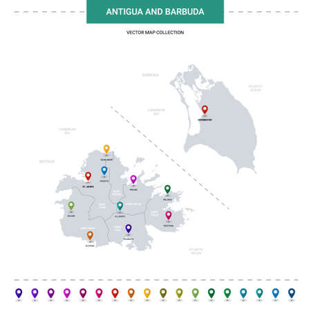 Antigua and Barbuda map with location pointer marks. Infographic vector template, isolated on white background.